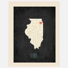 Illinois Customizable Map, $25, now featured on Fab.