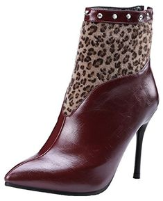 edd8c7d7e Mofri Womens Sexy Rhinestone Leopard Splicing Back Zipper Ankle Booties  Pointed Toe High Stiletto Heel Short Boots Wine Red 65 BM US *** Click for  Special ...