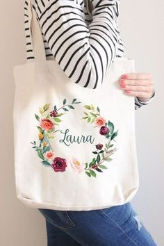 Personalised Name Natural Floral Wreath Tote Bag, Bridesmaid Tote Bag, Bridesmaid Gift, Custom Floral Tote Bag Floral Tote Bags, Monogram Tote Bags, Personalized Tote Bags, Custom Tote Bags, Bridesmaid Tote Bags, Bridesmaid Gifts, Floral Banners, Diy Tote Bag, Monogram Wreath