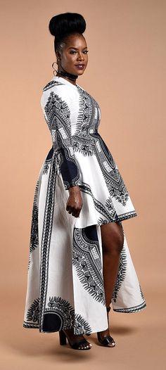 White Dashiki High -Low Dress. African print Long Sleeve dress. Glamorous High-Low design. Carefully Made to perfection.  Ankara   Dutch wax   Kente   Kitenge   Dashiki   African print dress   African fashion   African women dresses   African prints   Nig