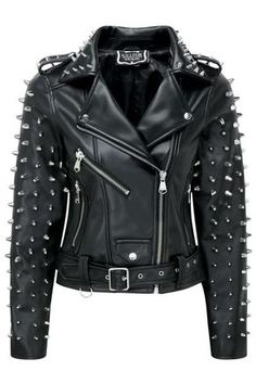 Chic New Woman Billie Brando Punk Full Metal Spiked Studded Unique Leather Jacket Womens Jackets from top store Spiked Leather Jacket, Studded Jacket, Biker Leather, Leather Men, Vegan Leather, Black Leather, Studded Belt, Cowhide Leather, Designer Leather Jackets