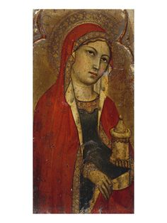St Mary Magdalene - a Fragment from an Altarpiece by Taddeo di Bartolo.  Taddeo di Bartolo (1362-1422) , also known as Taddeo Bartoli, was an Italian painter of the Sienese School during the early Renaissance. A massive triptych, Assumption of the Virgin, painted in 1401, is now situated in the 16th century Duomo of Santa Maria dell'Assunta at Montepulciano.