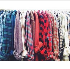 Plaid shirts, all in a row! Perfectly vintage, soft, warm...