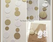 3m Antique Gold and White Paper Garland, wedding decor, nursery decor, party decor, baby shower