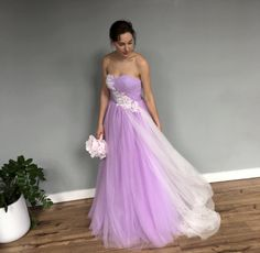 Purple Lavender Mixed White Strapless Lace Wedding dress I think I like this Etsy seller a lot