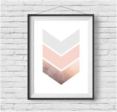 Chevron Print, Copper Art, Rose Gold, Blush Print, Geometric Print, Pastel Art, Scandinavian Print, Printable Art, Digital Download