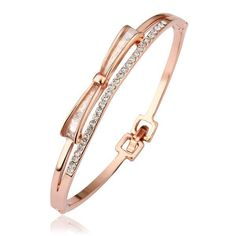 18K Bow-Tie Bangle with Austrian Crystal Elements, Women's .6CM Weightgrams: 12.00 Color: . Gender: Female. Age Group: Adult. -