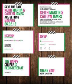 Modern Bold Kate Spade Inspired Wedding Invitation Suite DIY Printable Custom & Personalized