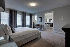 The master bedroom (AKA owner's suite) is amazing and the three large windows lining one wall bring in all the natural light! Large Windows, New Shows, Model Homes, Natural Light, Gabriel, Master Bedroom, Floor Plans, Amazing, Wall