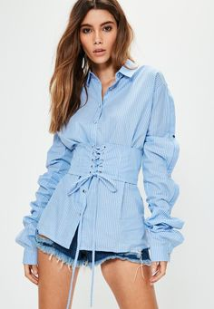 Missguided - Blue Striped Corset Button Sleeve Oversized Shirt