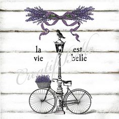 French Vintage Bicycle Street Lamp La Vie Est Belle Shabby Chic A4 Instant Digital Download Printable Graphic Transfer Lavender Image