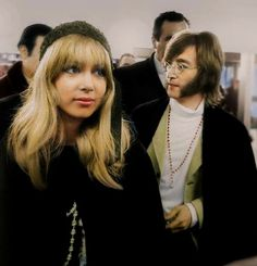 18th January 1968 .Pattie Boyd with John at Ossie Clark's premises.