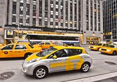 Brand new electric LEAF taxi in New York's new pilot program. Good idea!