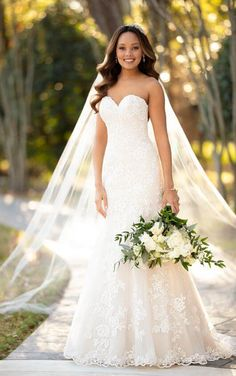 Wedding Dresses Strapless 6870 Modest A-Line Dress with Floral Lace by Stella York.Wedding Dresses Strapless 6870 Modest A-Line Dress with Floral Lace by Stella York Spring 2017 Wedding Dresses, Modest Wedding Dresses, Boho Wedding Dress, Mermaid Wedding, Wedding Bride, Strapless Lace Wedding Dress, Lace Mermaid, Casual Wedding, Wedding Blog
