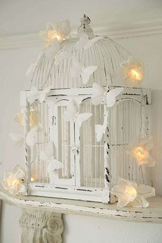 Painted Butterfly Birdcage with Lights