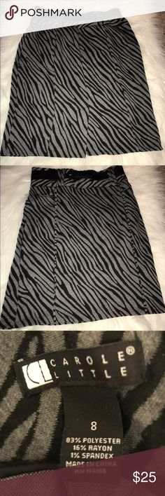 Black & Gray skirt Black and gray belted skirt with zipper in the back. Carole Little Skirts Pencil