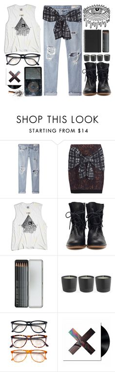 """""""One of the Boys"""" by angelloch ❤ liked on Polyvore featuring rag & bone/JEAN, 3.1 Phillip Lim, UNIF, Caran D'Ache, Persol, Muji, casual, LazyDay and plaid"""