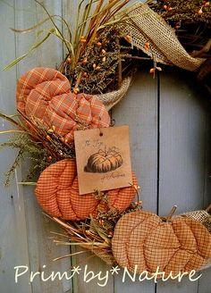 Primitive Wreath Fall Pumpkins Crow Doll Burlap Folk Art Autumn Prim Wreath