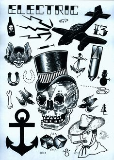 That tiny horseshoe is what I'm looking for! www.duncanx.com tattoo flash sheet 4
