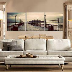 Stretched Canvas Art Landscape on the Bridge Set of 3 – AUD $ 70.82