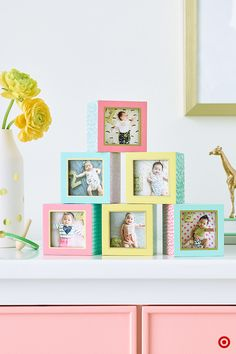 Build a tower of adorable baby photos as a focal point in your nursery. The Oh Joy! Photo Block Set includes 6 frames set in pastel-colored cubes. You can keep those first precious photos in place as a reminder of your baby's first days, or change them out as your little one grows. A fun little extra for your registry!