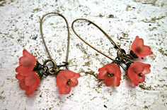 Red pink coral Bell Flower Earrings. Bronze and red Jewelry. Dangle Earrings. http://www.mckeejewelrydesigns.com/ 	 Andria McKee, McKee Jewelry,  McKee Jewelry Designs,   Hand made jewelry, jewellery