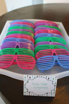 Rock n Roll Themed First Birthday Party favors.  Shutter shades found at Amazon…