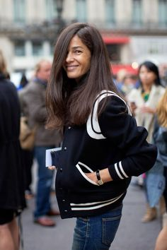 Barbara Martelo in a varsity jacket #style #fashion #streetstyle