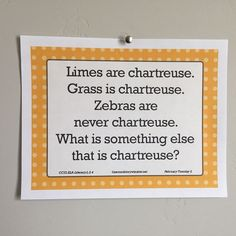What else is chartreuse? 2nd grade morning messages