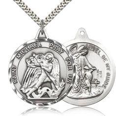 Sterling Silver St Christopher Pendant Light Rhodium Heavy Curb Chain Patron Saint Travelers//Motorists 1 3//8 x 1 1//4