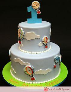 1st Birthday Hot Air Balloon Cake by Pink Cake Box