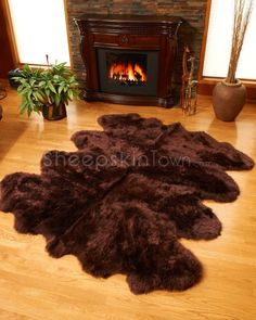 Brown Sheepskin Rug by Bowron : Largest Octo Lambskin Rug at SheepskinTown.com