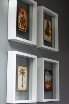 Postcards from Hawaii + white floating frames = budget-friendly wall art.