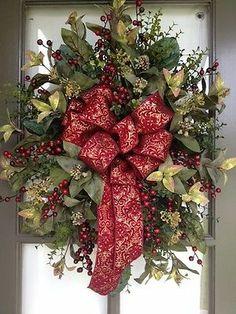 Burgundy Deep Red Floral Arrangement Door Wreath Swag | eBay