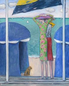 'Les Tentes Bleues' by French Impressionist Jean Pierre Cassigneul (b.1935).     oil on canvas  32 X 25 1/2 inches   signed lower right