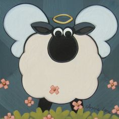 !! HOLY SHEEP !! Whimsical Art Animal Painting by Annie Lane