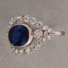 4 00ct Cornflower Blue Genuine Sapphire 75ct Deco G vs Diamond Platinum Ring   eBay