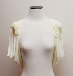 Ivory Bolero Shrug Bridal Shrug Wedding Shrug Draped Back by boubo, $53.00