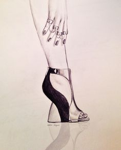 shoe, sergio rossi, high heel, fashion, ring, woman, illustration, pencil drawing