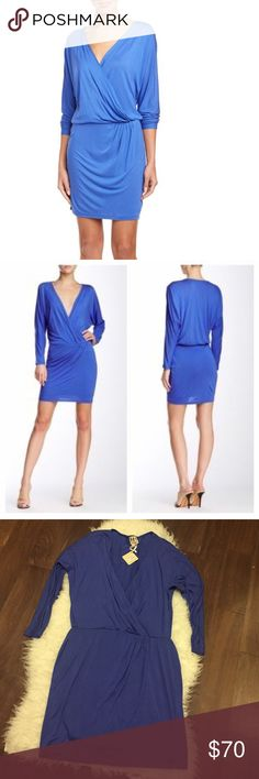 """haute hippie blue jersey blouson dress M Haute Hippie Lightweight Stretch Jersey Knit Deep V Surplice Neckline; Long Dolman Sleeves Gathered Waist With Ruched Detail Straight Skirt Self-Lined Slip-On Dry Clean China 100% Modal ▪️ 18"""" shoulder to shoulder ▪️ 21"""" underarm to underarm ▪️ 14"""" across waist ▪️ 20"""" across hip ▪️ 35"""" length Haute Hippie Dresses Long Sleeve"""