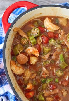 This amazingly flavorful Shrimp recipe uses the masterpiece of all sausages spicy andouille sausage with shrimp, chicken, and traditional rice. The method is so simple and straightforward; you're going to wonder why you have waited so long to make it. Cajun Recipes, Seafood Recipes, Crockpot Recipes, Cooking Recipes, Cajun Cooking, Cajun Seafood Recipe, Shrimp Gumbo Recipes, Chicken Gumbo Recipe Crockpot, Spicy Gumbo Recipe