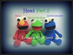 Rainbow Loom HEAD for Kermit The Frog / ELMO/ Cookie Monster  (Part 2 of 3) Loomigurumi Amigurumi Tutorial is now Up! Hook Only, crochet, stuffed toy plush, plushie, Looming With Cheryl