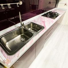Metallic Epoxy Countertop Epoxy Countertop, Countertops, Black And Gold Marble, Pink Highlights, Epoxy Coating, Metallic, Design Ideas, Modern, House