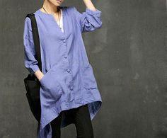 New Style Women Cotton Linen Dress/Blue Plus Size Dress/Autumn Coat/Middle Sleeve Dress/Leisure Clothes/Korea Style Dress/Loose Fit Dress