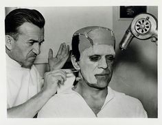 universalmonsterstribute: Jack Pierce transforms Boris Karloff into The Monster for Son Of Frankenstein (1939)