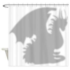 Dragon silhouette shower curtain Shower Curtain on CafePress.com