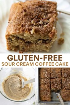 This gluten-free coffee cake is made extra rich and tender with the addition of sour cream. It is filled and topped with a cinnamon sugar. Based on a long-time family recipe, this coffee cake is sure to become your new go-to recipe! #coffeecake #glutenfree Gluten Free Flour, Gluten Free Baking, Gluten Free Recipes, Baking Recipes, Dessert Recipes, Healthy Recipes, Healthy Meals, Desserts, Gluten Free Coffee Cake