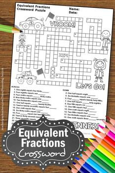 You Will Download A 4th Grade Math Crossword Puzzle For Your Students To Practice Equivalent F Math Center Activities Equivalent Fractions Fractions Worksheets