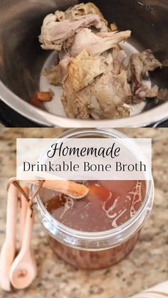 We love making bone broth at the homestead. Whenever we have a roasted chicken or leftover beef bone Chicken Bone Broth Recipe, Bone Broth Soup, Making Bone Broth, Chicken Broth Recipes, Soup Recipes, Recipes With Bone Broth, Healthy Bone Broth Recipe, Instapot Bone Broth, Bone Broth Crockpot