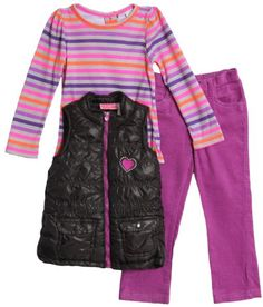 Young Hearts Baby Girls 3 Piece Vest Striped Shirt and Pant Set Purple 12 Months *** For more information, visit image link. (This is an affiliate link) #BabyGirlClothingSets